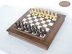 picture of Professional Staunton Maple Chessmen with Italian Alabaster Chess Board with Storage (2 of 6)