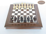 picture of Professional Staunton Maple Chessmen with Italian Alabaster Chess Board with Storage (3 of 6)