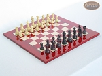Professional Staunton Maple Chessmen with Italian Lacquered Chess Board [Red] - Item: 675