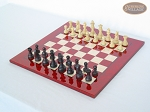 picture of Professional Staunton Maple Chessmen with Italian Lacquered Chess Board [Red] (2 of 5)