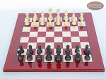 picture of Professional Staunton Maple Chessmen with Italian Lacquered Chess Board [Red] (3 of 5)