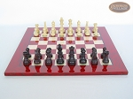 picture of Professional Staunton Maple Chessmen with Italian Lacquered Chess Board [Red] (4 of 5)