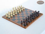 Professional Staunton Maple Chessmen with Patterned Italian Leatherette Chess Board - Item: 669