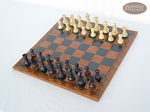 picture of Professional Staunton Maple Chessmen with Patterned Italian Leatherette Chess Board (2 of 5)