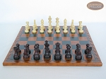 picture of Professional Staunton Maple Chessmen with Patterned Italian Leatherette Chess Board (4 of 5)