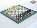 Professional Staunton Maple Chessmen with Italian Lacquered Chess Board [Green]