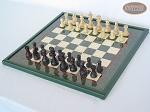 picture of Professional Staunton Maple Chessmen with Italian Lacquered Chess Board [Green] (2 of 5)