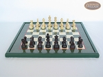 picture of Professional Staunton Maple Chessmen with Italian Lacquered Chess Board [Green] (4 of 5)