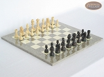 Executive Staunton Chessmen with Spanish Lacquered Chess Board [Grey] - Item: 708