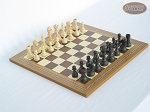 Executive Staunton Chessmen with Spanish Mosaic Chess Board - Item: 711
