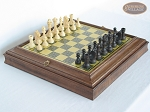 Executive Staunton Chessmen with Italian Brass Chess Board with Storage - Item: 712