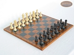 Executive Staunton Chessmen with Patterned Italian Leatherette Chess Board - Item: 713