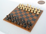 picture of Executive Staunton Chessmen with Patterned Italian Leatherette Chess Board (2 of 6)