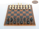 picture of Executive Staunton Chessmen with Patterned Italian Leatherette Chess Board (3 of 6)
