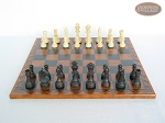 picture of Executive Staunton Chessmen with Patterned Italian Leatherette Chess Board (4 of 6)