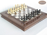 Executive Staunton Chessmen with Italian Alabaster Chess Board with Storage - Item: 717