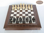 Executive Staunton Chessmen with Italian Alabaster Chess Board with Storage