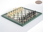 Executive Staunton Chessmen with Italian Lacquered Chess Board [Green] - Item: 716