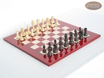 Executive Staunton Chessmen with Italian Lacquered Chess Board [Red] - Item: 719