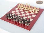 picture of Executive Staunton Chessmen with Italian Lacquered Chess Board [Red] (2 of 6)