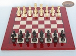 picture of Executive Staunton Chessmen with Italian Lacquered Chess Board [Red] (3 of 6)