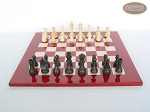 picture of Executive Staunton Chessmen with Italian Lacquered Chess Board [Red] (4 of 6)