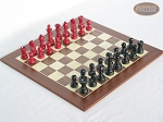 Red and Black Maple Staunton Chessmen with Spanish Wood Chess Board - Item: 734
