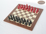 picture of Red and Black Maple Staunton Chessmen with Spanish Wood Chess Board (2 of 6)