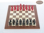 picture of Red and Black Maple Staunton Chessmen with Spanish Wood Chess Board (3 of 6)
