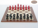 picture of Red and Black Maple Staunton Chessmen with Spanish Wood Chess Board (4 of 6)