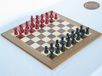 Red and Black Maple Staunton Chessmen with Spanish Mosaic Chess Board - Item: 736