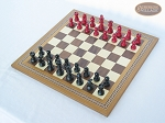 picture of Red and Black Maple Staunton Chessmen with Spanish Mosaic Chess Board (2 of 6)