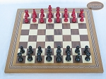 picture of Red and Black Maple Staunton Chessmen with Spanish Mosaic Chess Board (3 of 6)