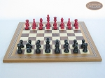 picture of Red and Black Maple Staunton Chessmen with Spanish Mosaic Chess Board (4 of 6)