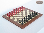 Red and Black Maple Staunton Chessmen with Spanish Traditional Chess Board [Small] - Item: 739