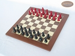 picture of Red and Black Maple Staunton Chessmen with Spanish Traditional Chess Board [Small] (2 of 6)