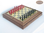 Red and Black Maple Staunton Chessmen with Italian Brass Chess Board with Storage - Item: 737