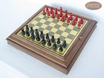 picture of Red and Black Maple Staunton Chessmen with Italian Brass Chess Board with Storage (2 of 7)