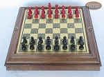 picture of Red and Black Maple Staunton Chessmen with Italian Brass Chess Board with Storage (3 of 7)