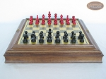 Red and Black Maple Staunton Chessmen with Italian Brass Chess Board with Storage