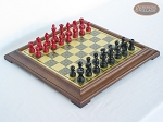 picture of Red and Black Maple Staunton Chessmen with Italian Brass Chess Board [Raised] (1 of 6)