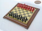 picture of Red and Black Maple Staunton Chessmen with Italian Brass Chess Board [Raised] (2 of 6)