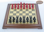 picture of Red and Black Maple Staunton Chessmen with Italian Brass Chess Board [Raised] (3 of 6)
