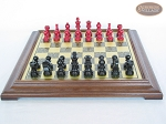 picture of Red and Black Maple Staunton Chessmen with Italian Brass Chess Board [Raised] (4 of 6)