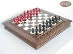 Red and Black Maple Staunton Chessmen with Italian Alabaster Chess Board with Storage - Item: 740