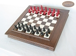 picture of Red and Black Maple Staunton Chessmen with Italian Alabaster Chess Board with Storage (2 of 7)