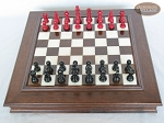 picture of Red and Black Maple Staunton Chessmen with Italian Alabaster Chess Board with Storage (3 of 7)