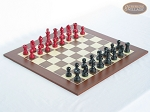 Red and Black Maple Staunton Chessmen with Spanish Wood Chess Board [Large] - Item: 735