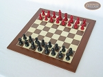 picture of Red and Black Maple Staunton Chessmen with Spanish Wood Chess Board [Large] (2 of 6)
