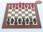 picture of Red and Black Maple Staunton Chessmen with Spanish Wood Chess Board [Large] (3 of 6)